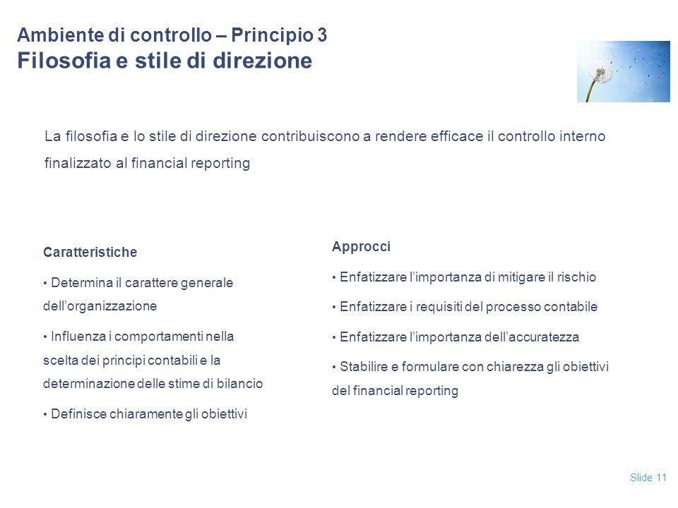 Ambiente di controllo – Principio 3 Filosofia e stile di direzione