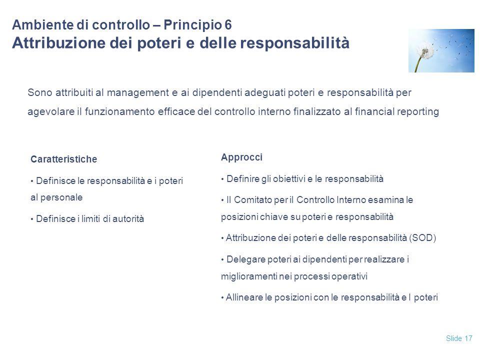 12/04/2017 Ambiente di controllo – Principio 6 Attribuzione dei poteri e delle responsabilità.