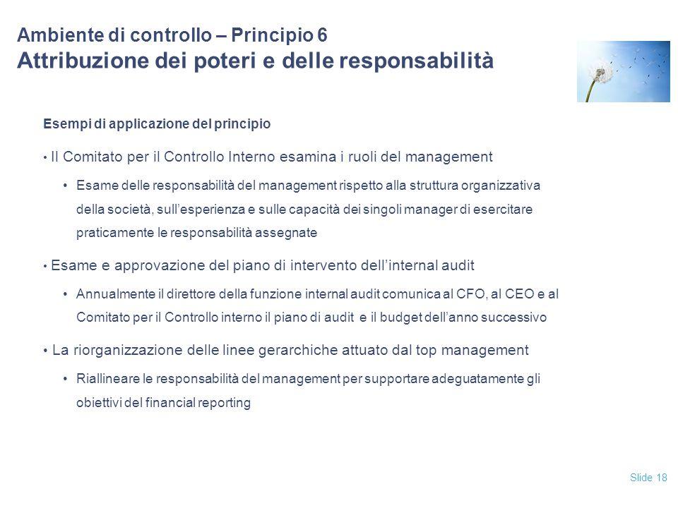 12/04/2017 Ambiente di controllo – Principio 6 Attribuzione dei poteri e delle responsabilità. Esempi di applicazione del principio.