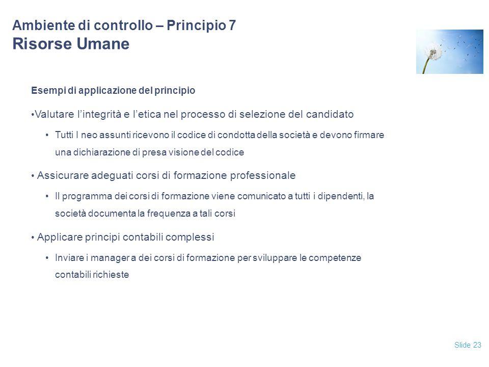 Ambiente di controllo – Principio 7 Risorse Umane