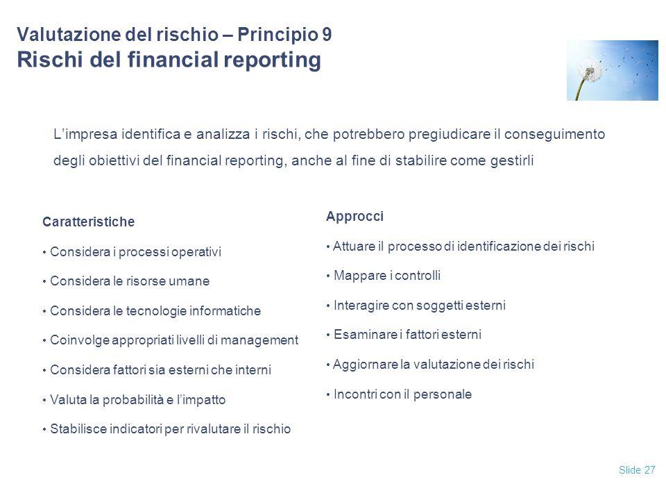 Valutazione del rischio – Principio 9 Rischi del financial reporting