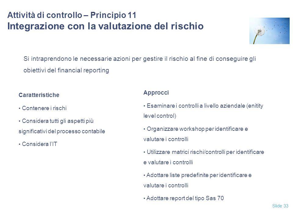12/04/2017 Attività di controllo – Principio 11 Integrazione con la valutazione del rischio.