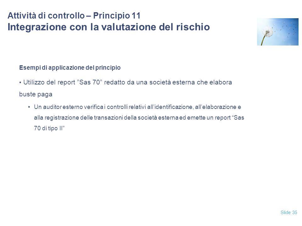 12/04/2017 Attività di controllo – Principio 11 Integrazione con la valutazione del rischio. Esempi di applicazione del principio.
