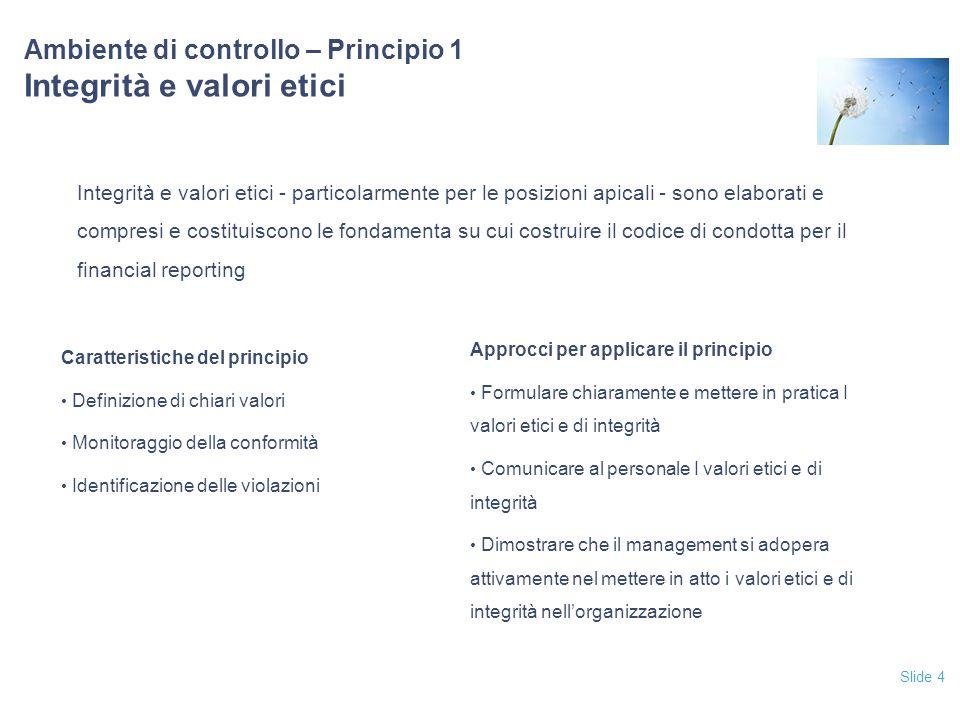 Ambiente di controllo – Principio 1 Integrità e valori etici