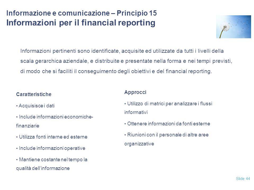 12/04/2017 Informazione e comunicazione – Principio 15 Informazioni per il financial reporting.
