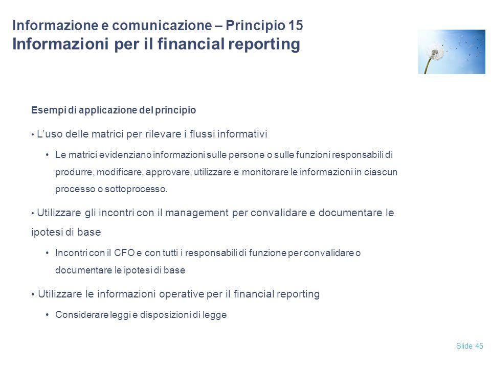 12/04/2017 Informazione e comunicazione – Principio 15 Informazioni per il financial reporting. Esempi di applicazione del principio.