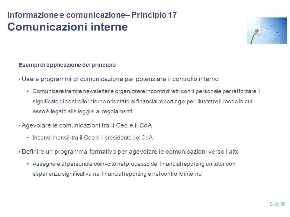 Informazione e comunicazione– Principio 17 Comunicazioni interne