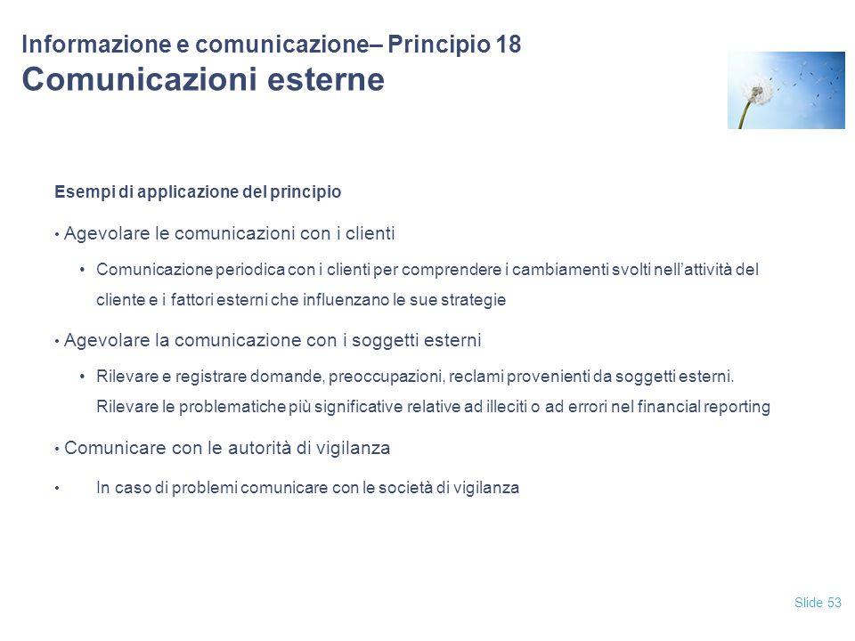 Informazione e comunicazione– Principio 18 Comunicazioni esterne