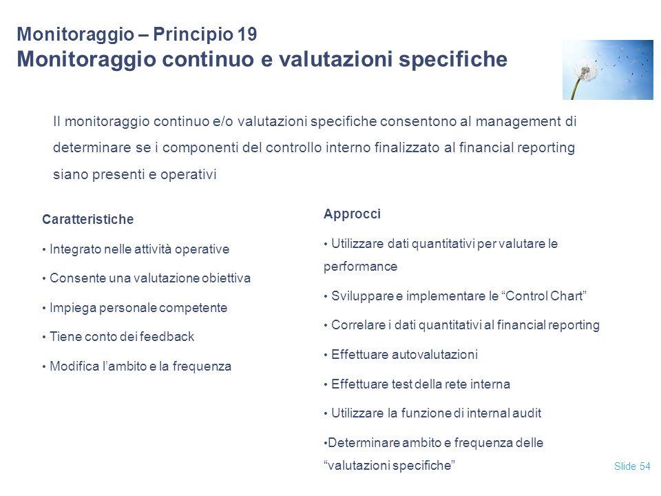 12/04/2017 Monitoraggio – Principio 19 Monitoraggio continuo e valutazioni specifiche.