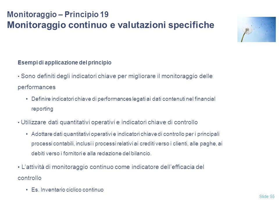 12/04/2017 Monitoraggio – Principio 19 Monitoraggio continuo e valutazioni specifiche. Esempi di applicazione del principio.