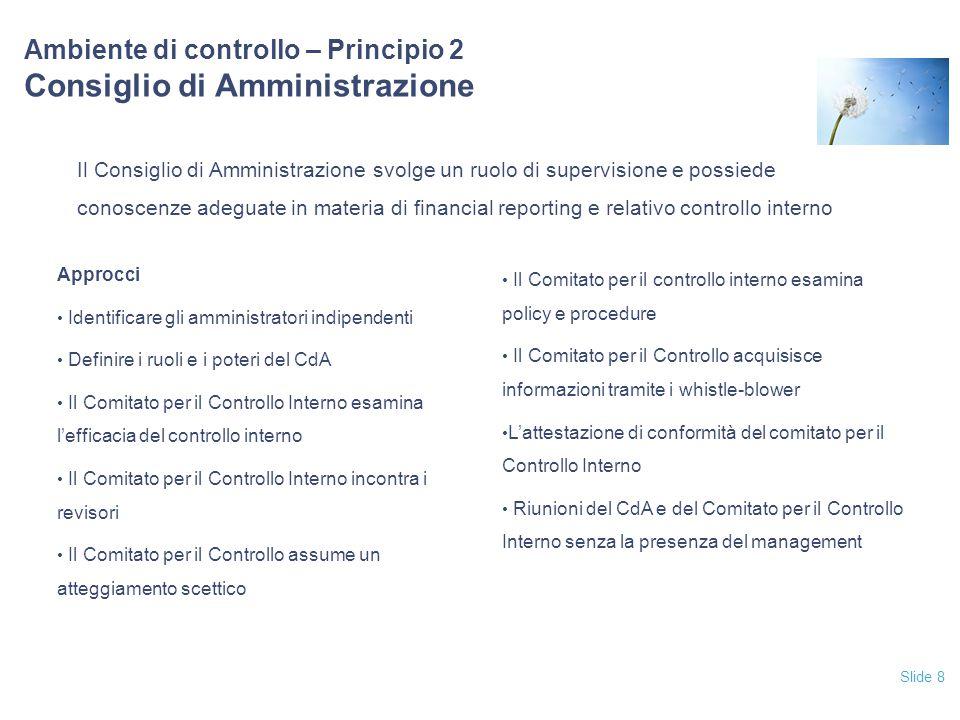 Ambiente di controllo – Principio 2 Consiglio di Amministrazione
