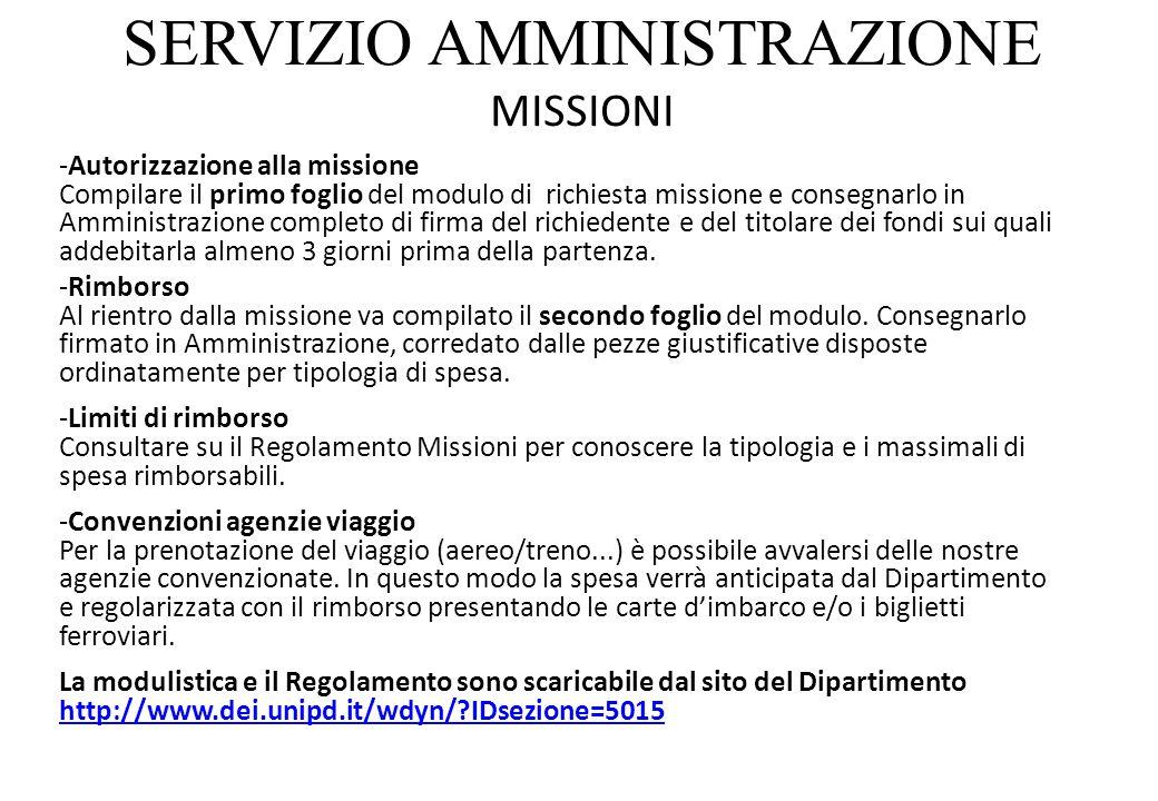 SERVIZIO AMMINISTRAZIONE MISSIONI