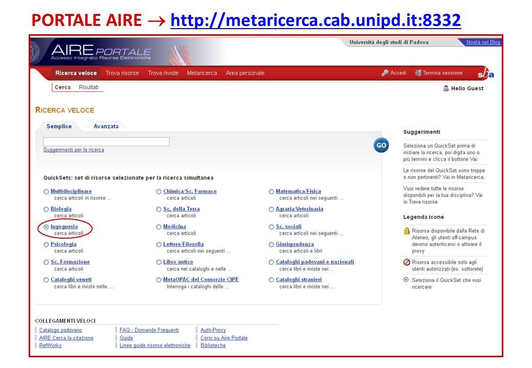 PORTALE AIRE  http://metaricerca.cab.unipd.it:8332