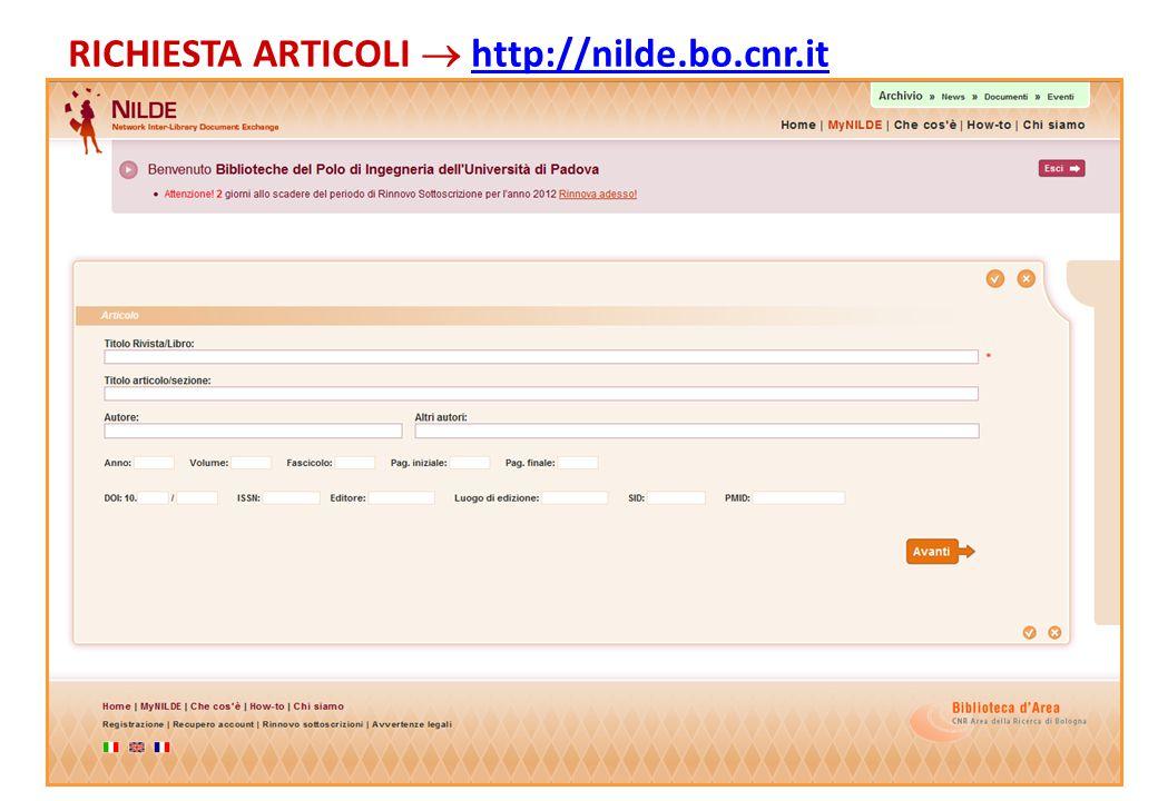 RICHIESTA ARTICOLI  http://nilde.bo.cnr.it