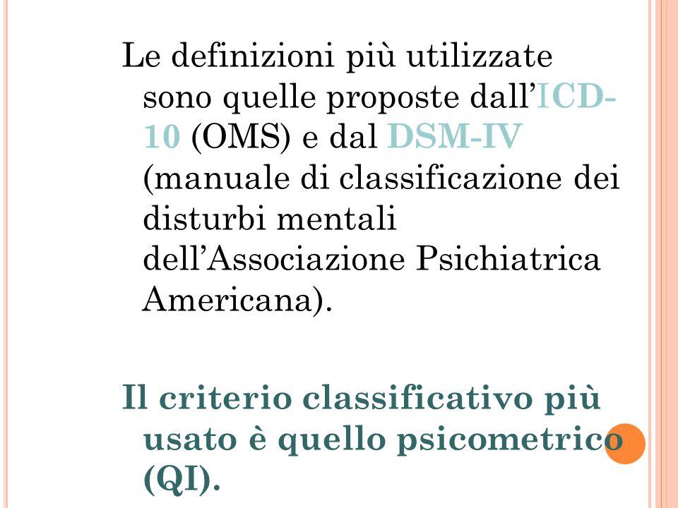 Le definizioni più utilizzate sono quelle proposte dall'ICD- 10 (OMS) e dal DSM-IV (manuale di classificazione dei disturbi mentali dell'Associazione Psichiatrica Americana).