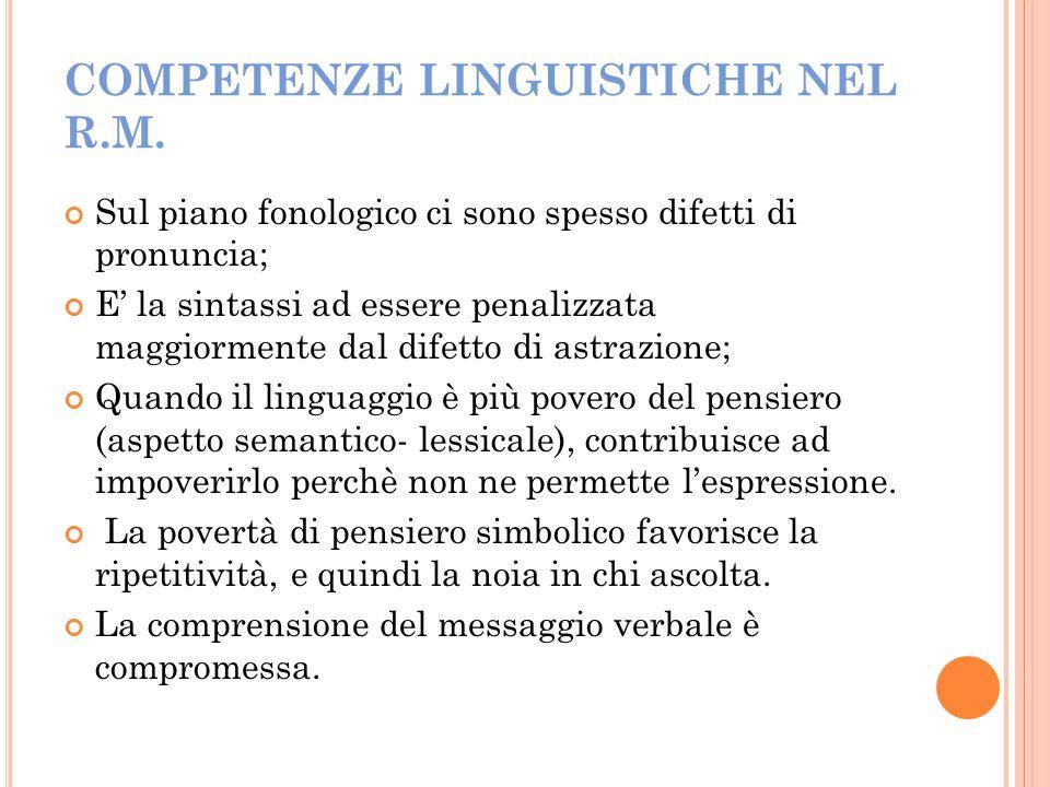 COMPETENZE LINGUISTICHE NEL R.M.