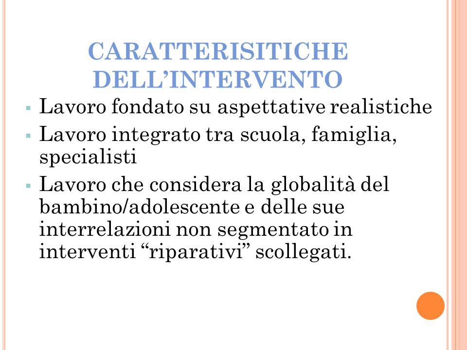 CARATTERISITICHE DELL'INTERVENTO