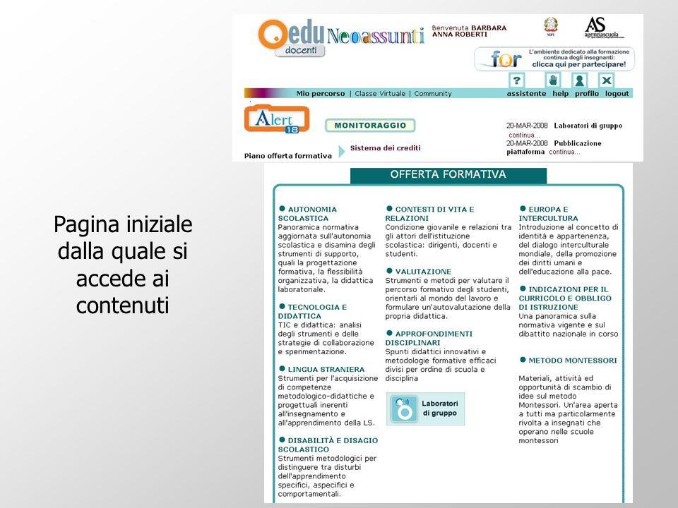 Pagina iniziale dalla quale si accede ai contenuti