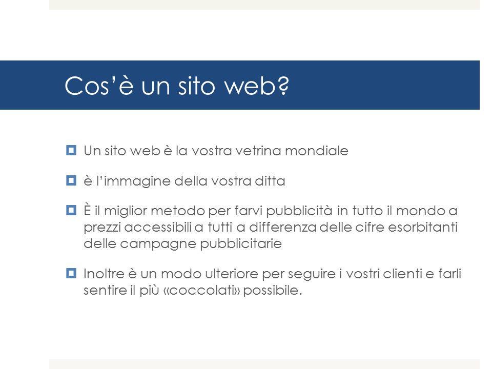 Cos'è un sito web Un sito web è la vostra vetrina mondiale