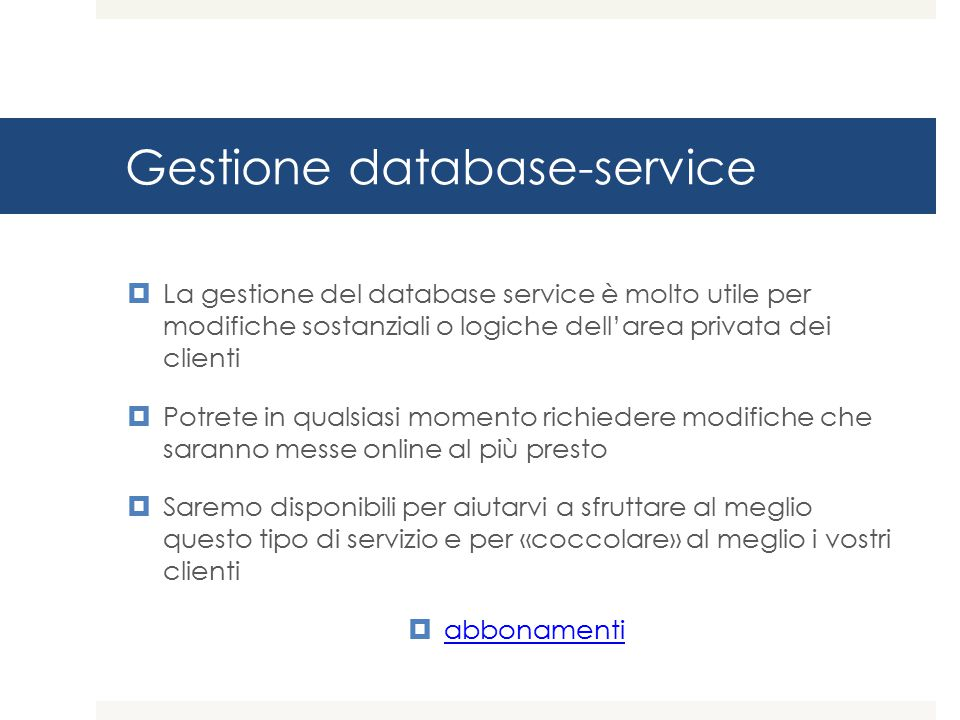 Gestione database-service