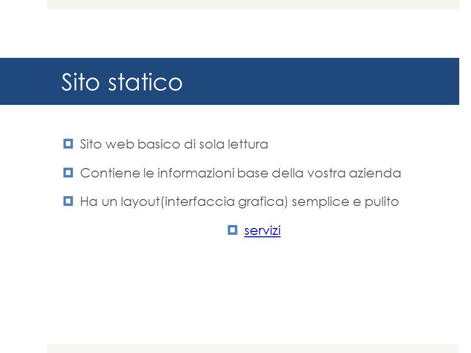 Sito statico Sito web basico di sola lettura