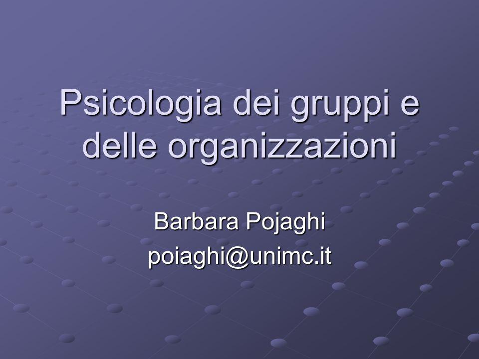 Psicologia dei gruppi e delle organizzazioni