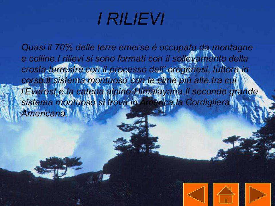 I RILIEVI Quasi il 70% delle terre emerse è occupato da montagne