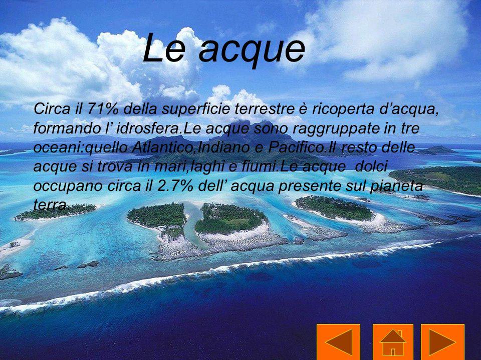 Le acque Circa il 71% della superficie terrestre è ricoperta d'acqua,