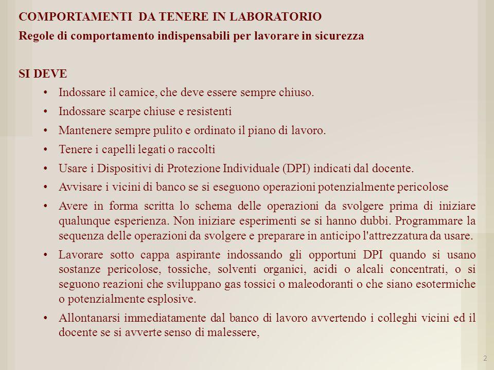 COMPORTAMENTI DA TENERE IN LABORATORIO