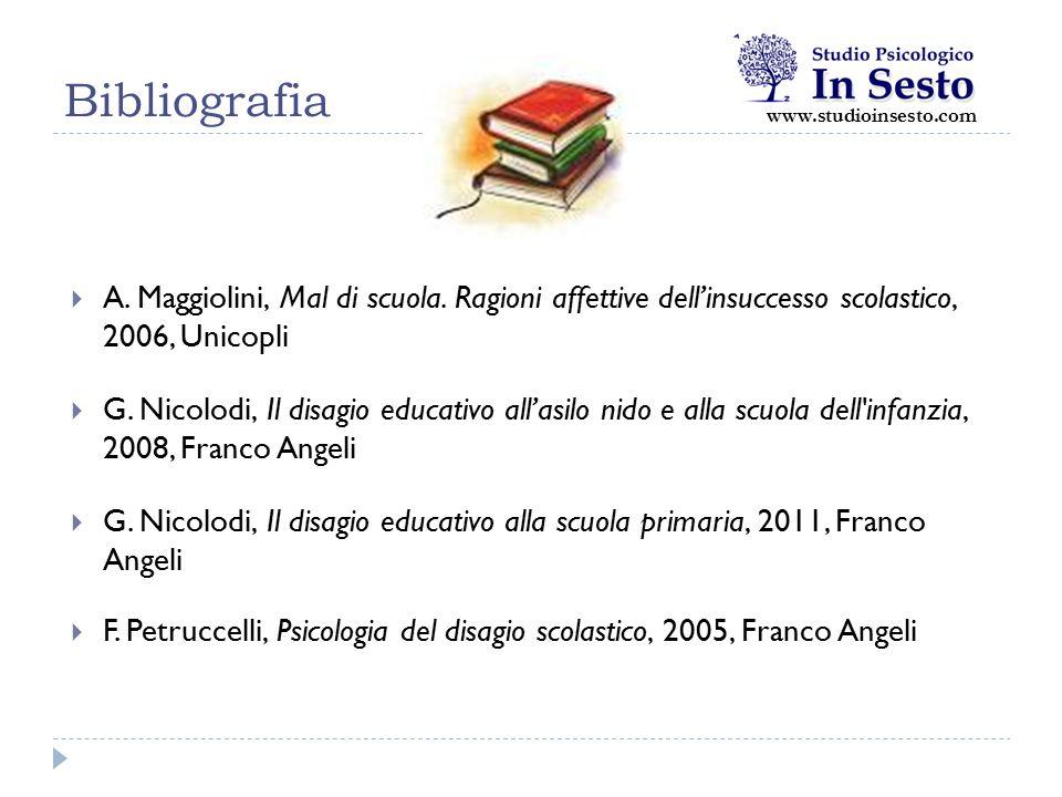 Bibliografia www.studioinsesto.com. A. Maggiolini, Mal di scuola. Ragioni affettive dell'insuccesso scolastico, 2006, Unicopli.