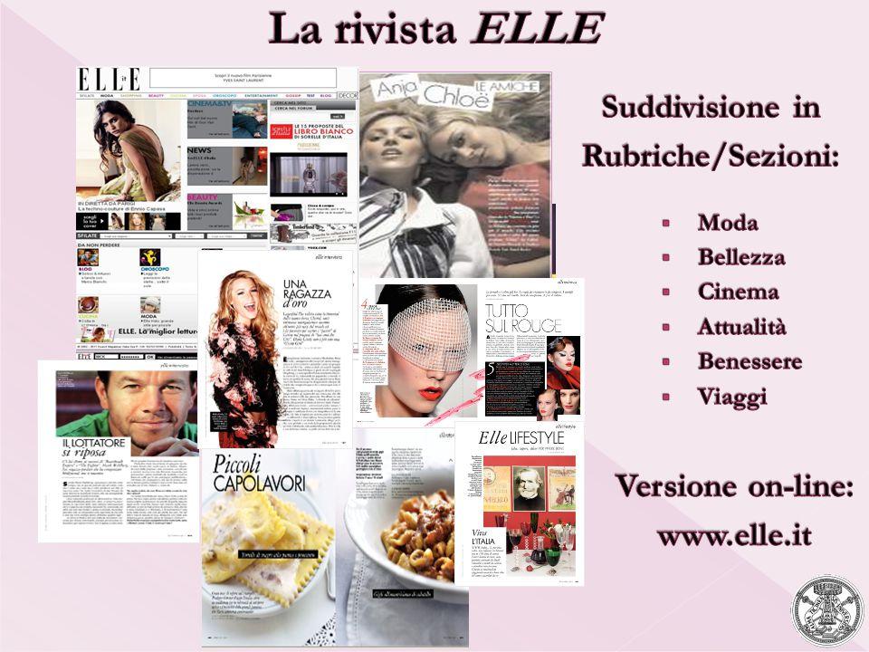 La rivista ELLE Suddivisione in Rubriche/Sezioni: Versione on-line: