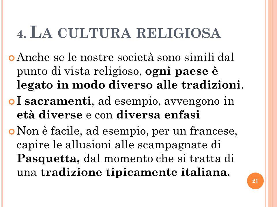 4. La cultura religiosa Anche se le nostre società sono simili dal punto di vista religioso, ogni paese è legato in modo diverso alle tradizioni.