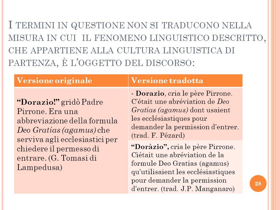 I termini in questione non si traducono nella misura in cui il fenomeno linguistico descritto, che appartiene alla cultura linguistica di partenza, è l'oggetto del discorso: