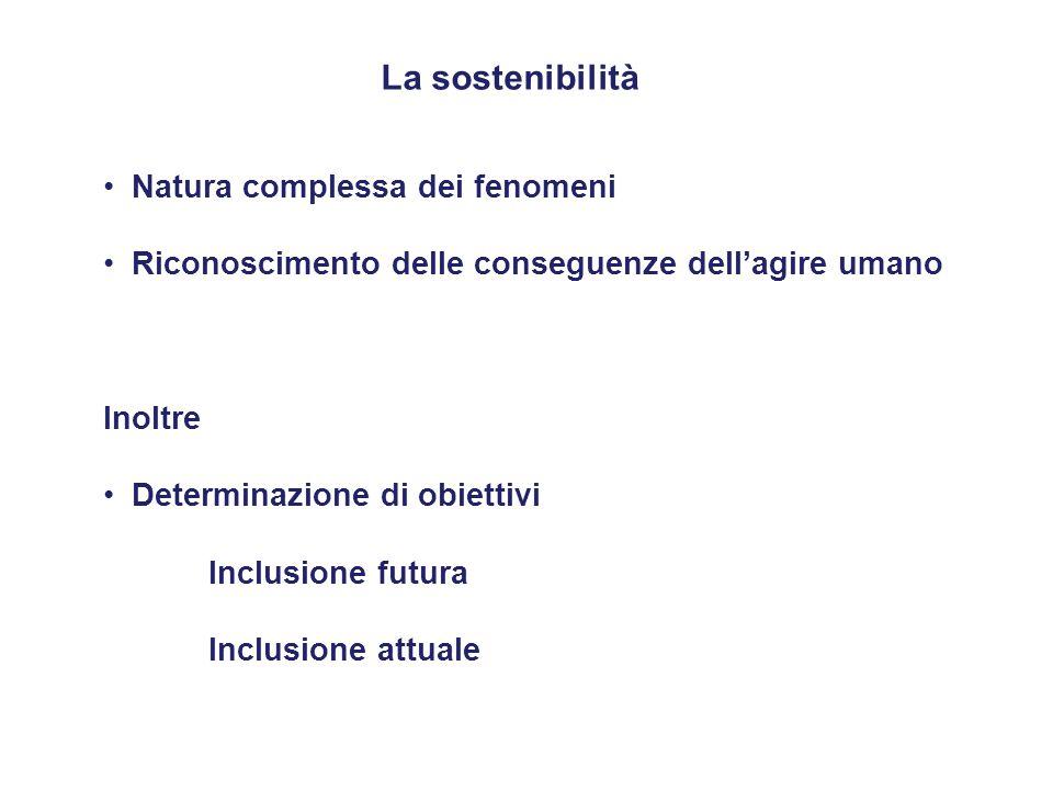 La sostenibilità Natura complessa dei fenomeni