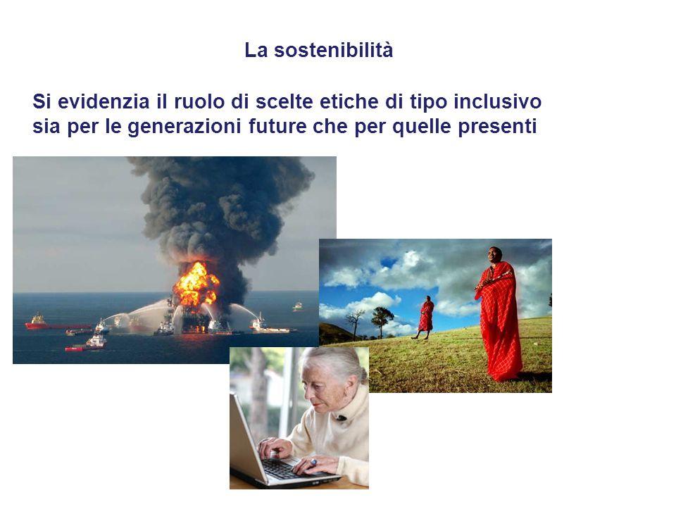 La sostenibilità Si evidenzia il ruolo di scelte etiche di tipo inclusivo.