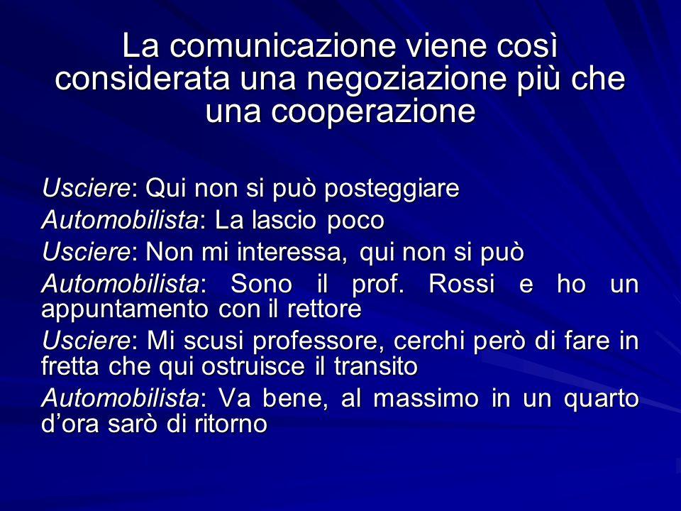 La comunicazione viene così considerata una negoziazione più che una cooperazione