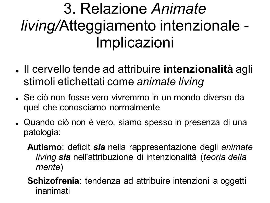 3. Relazione Animate living/Atteggiamento intenzionale - Implicazioni