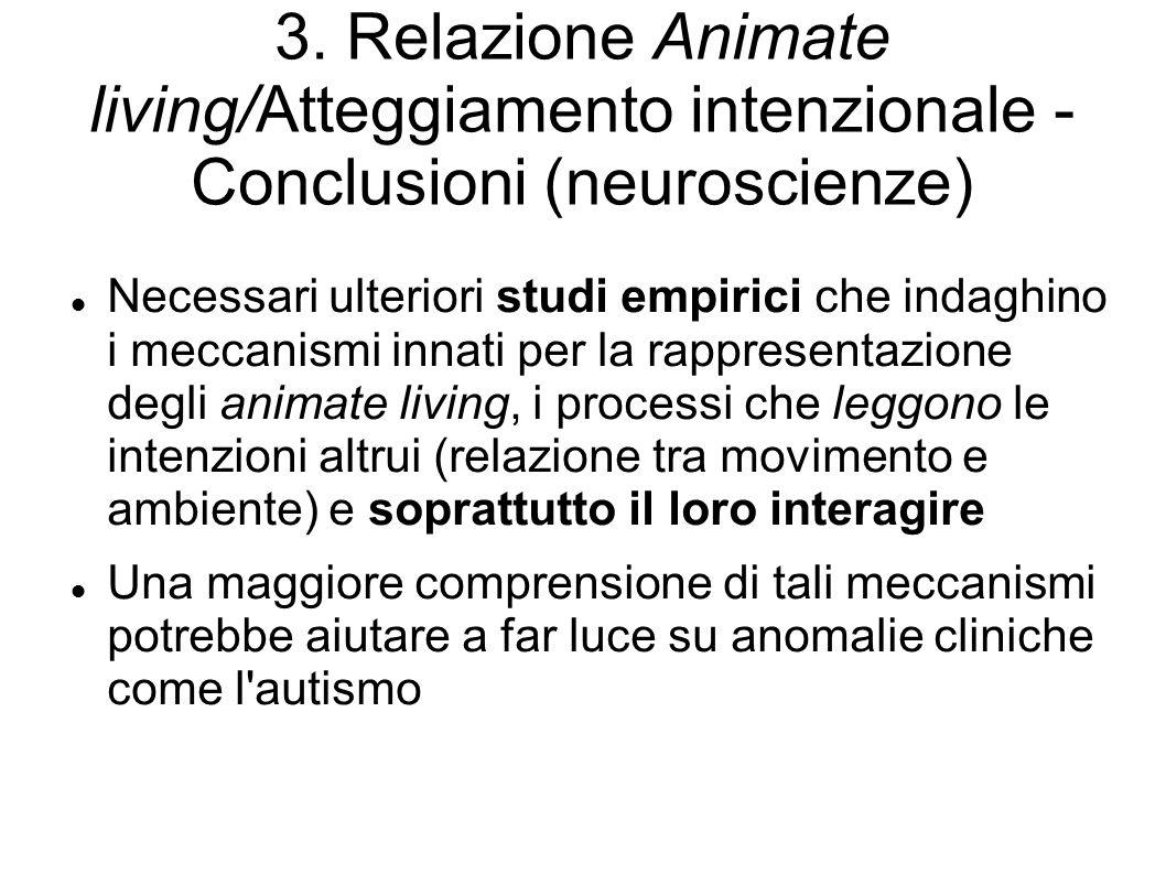 3. Relazione Animate living/Atteggiamento intenzionale - Conclusioni (neuroscienze)