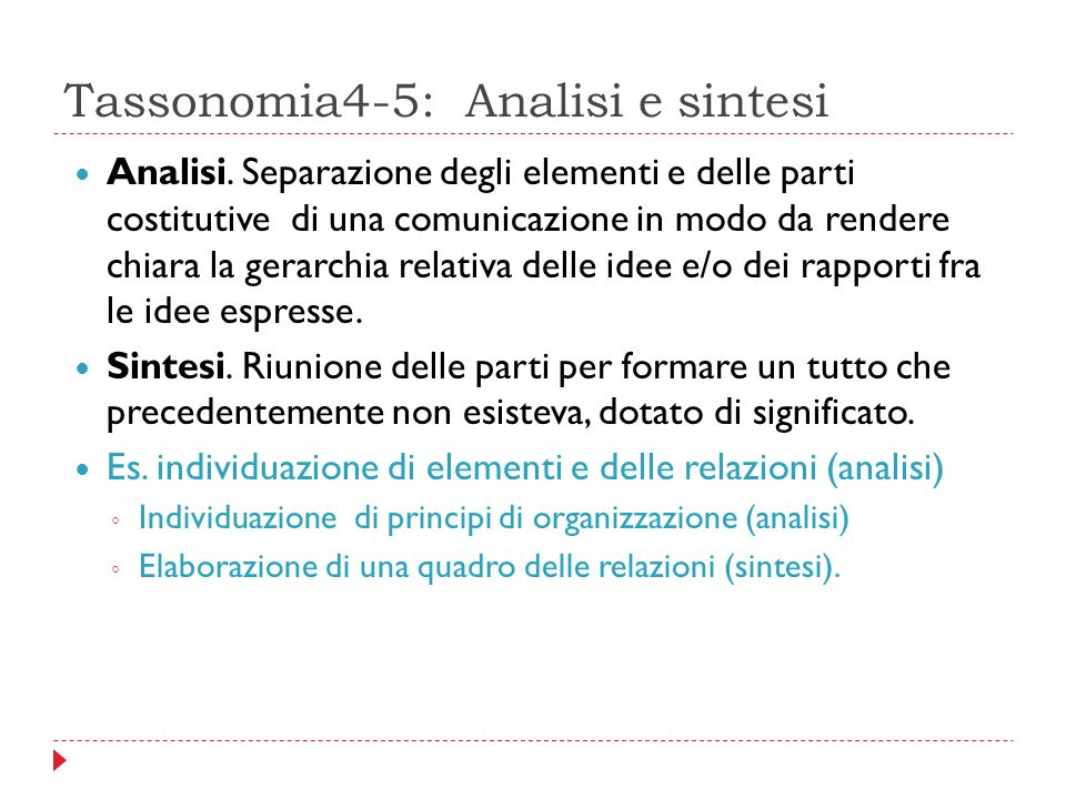 Tassonomia4-5: Analisi e sintesi
