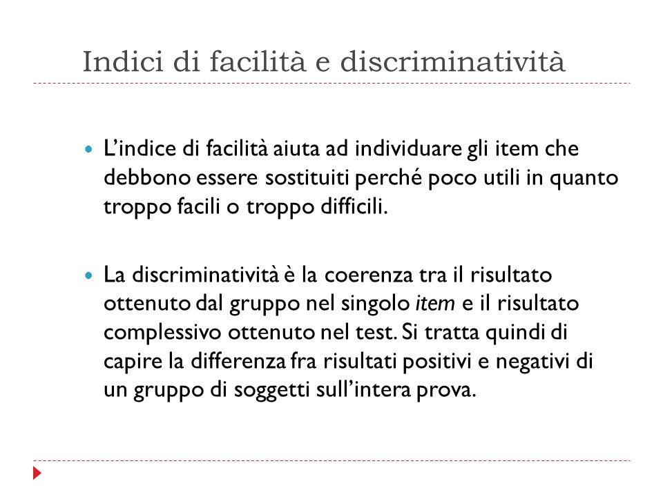 Indici di facilità e discriminatività