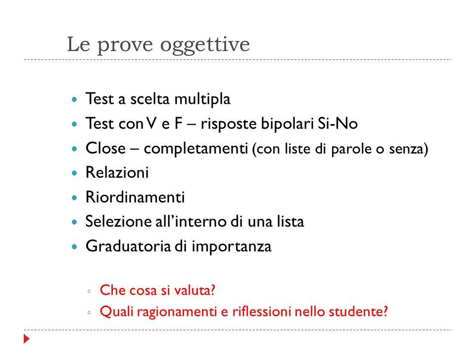 Le prove oggettive Test a scelta multipla