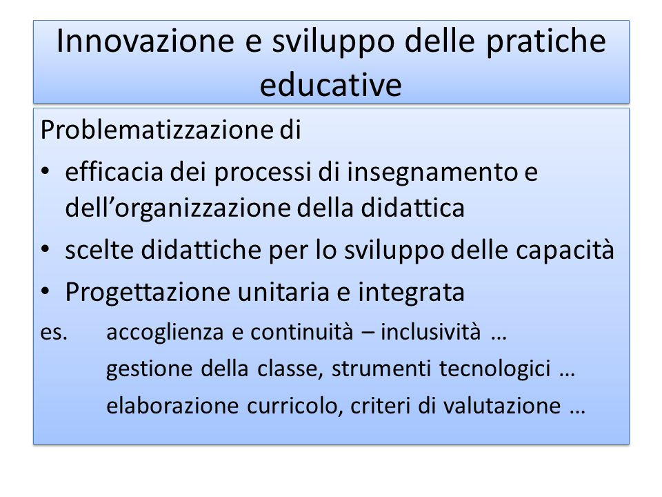 Innovazione e sviluppo delle pratiche educative
