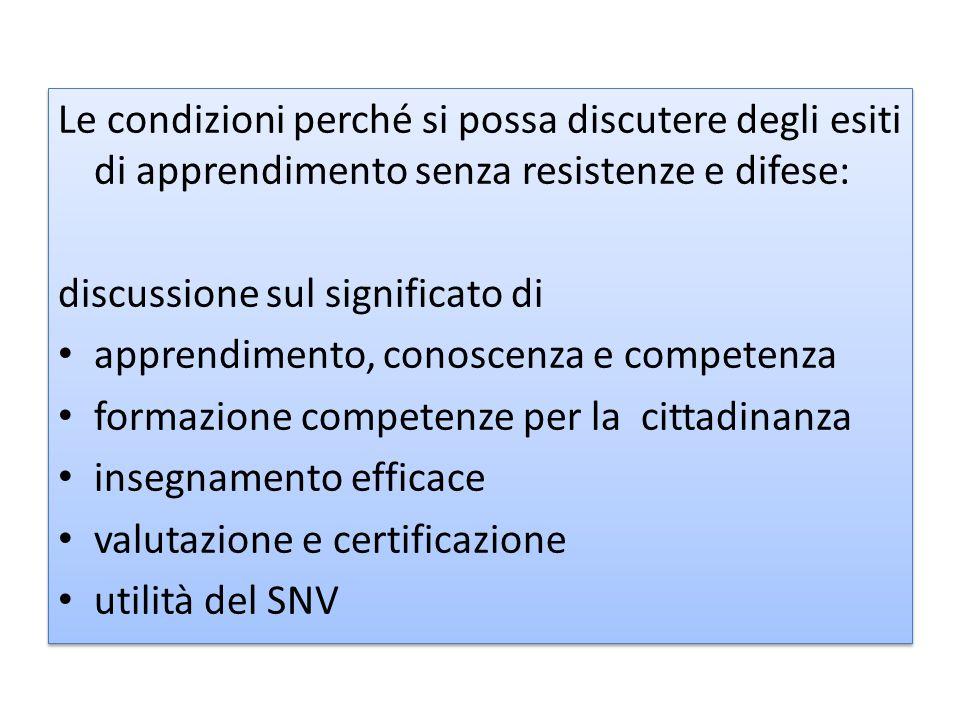 Le condizioni perché si possa discutere degli esiti di apprendimento senza resistenze e difese: