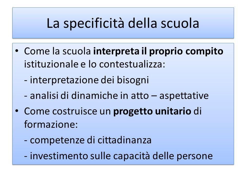La specificità della scuola