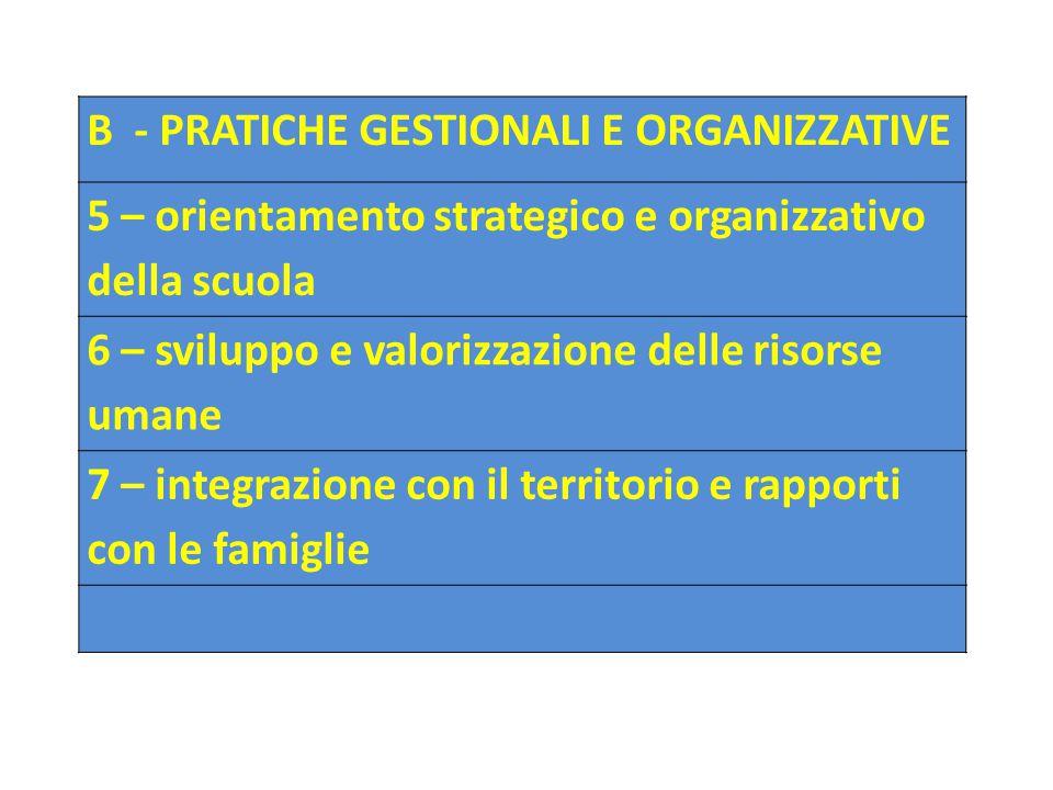B - PRATICHE GESTIONALI E ORGANIZZATIVE