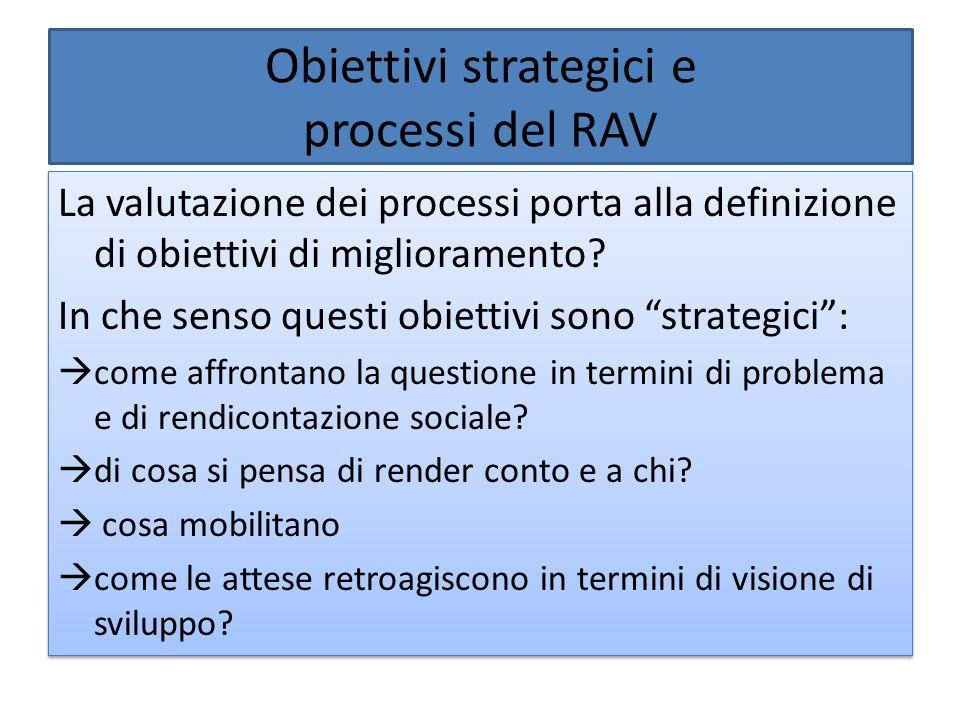Obiettivi strategici e processi del RAV