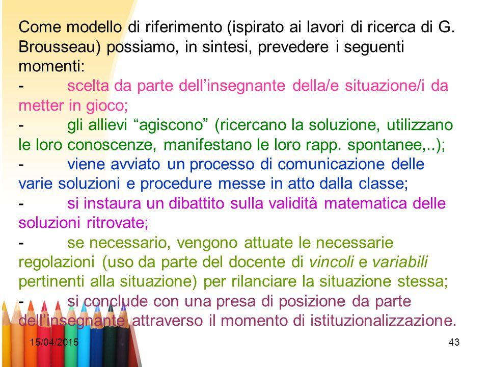 Come modello di riferimento (ispirato ai lavori di ricerca di G