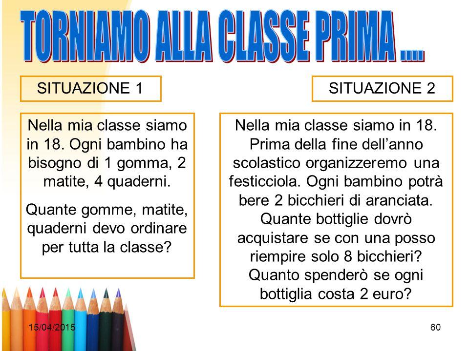 TORNIAMO ALLA CLASSE PRIMA ....