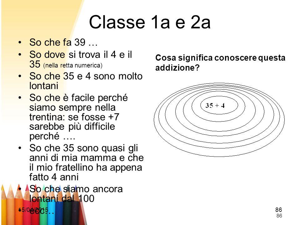Classe 1a e 2a So che fa 39 … So dove si trova il 4 e il 35 (nella retta numerica) So che 35 e 4 sono molto lontani.