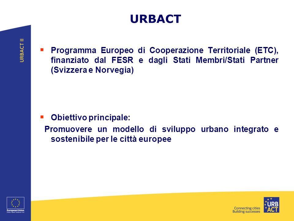URBACT Programma Europeo di Cooperazione Territoriale (ETC), finanziato dal FESR e dagli Stati Membri/Stati Partner (Svizzera e Norvegia)